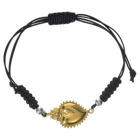 Bracelet corde argent 925 coeur exvoto s1