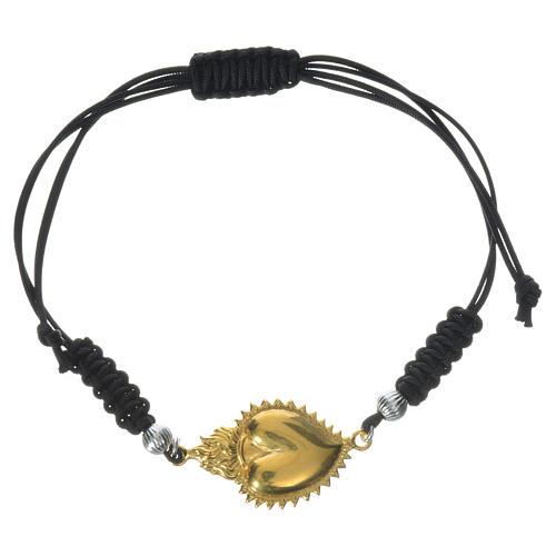 Bracelet corde argent 925 coeur exvoto 1