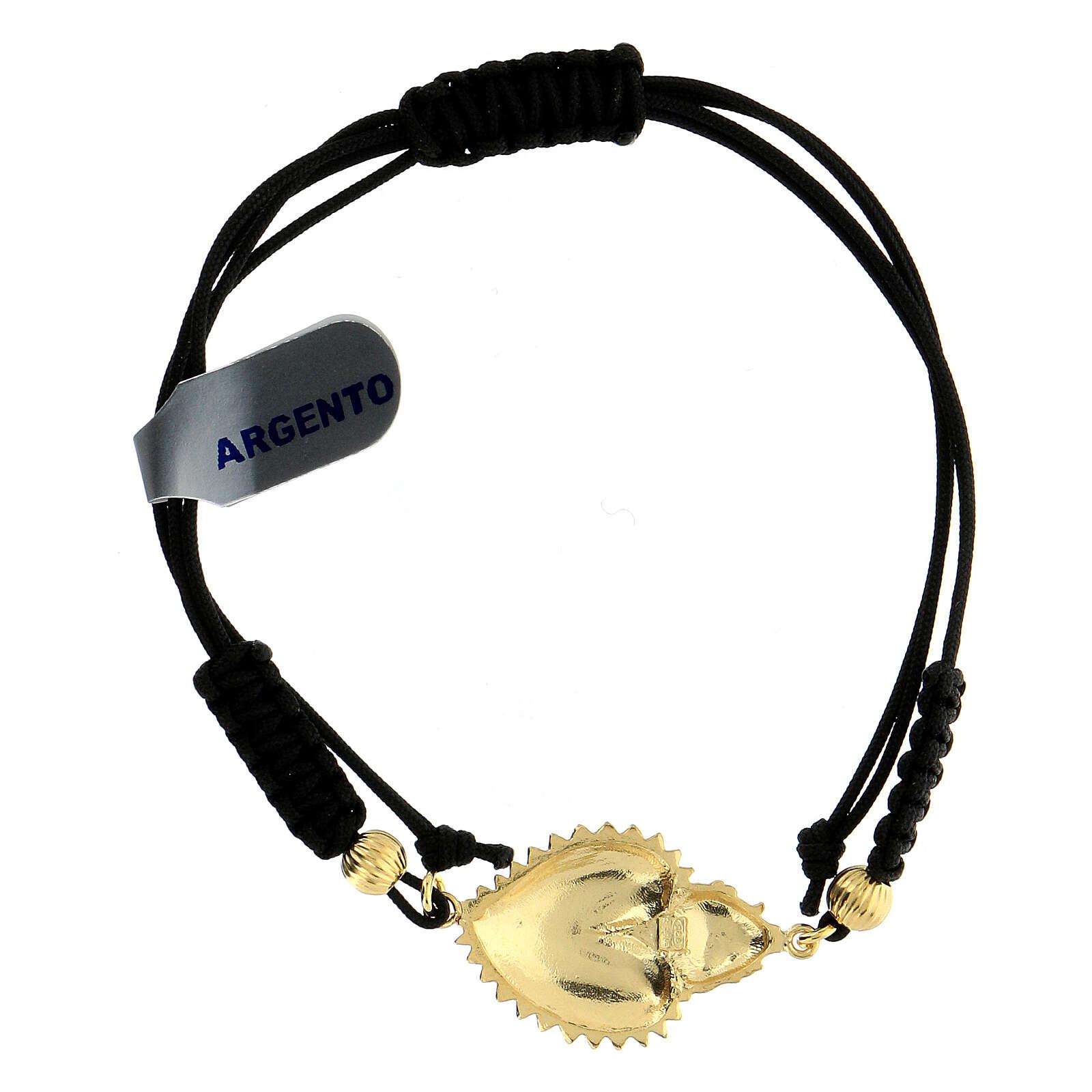 Bracciale cordino argento 925 cuore exvoto 4