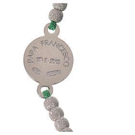 Bracelet corde verte médaille argent 800 Pape François s3