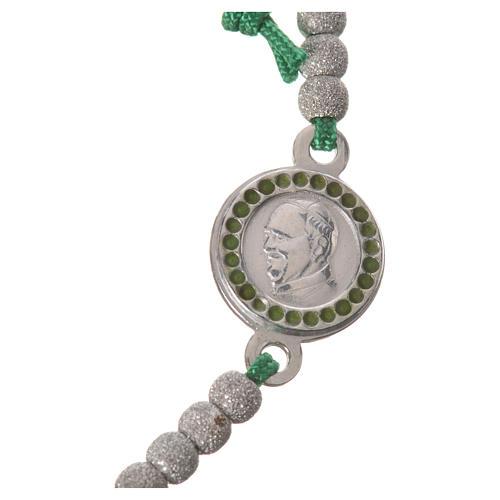 Bracelet corde verte médaille argent 800 Pape François 2