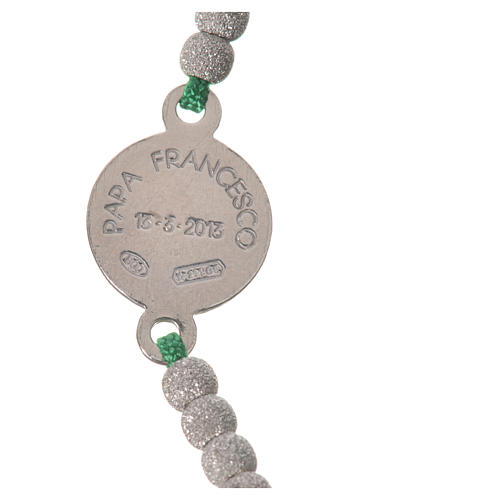 Bracelet corde verte médaille argent 800 Pape François 3