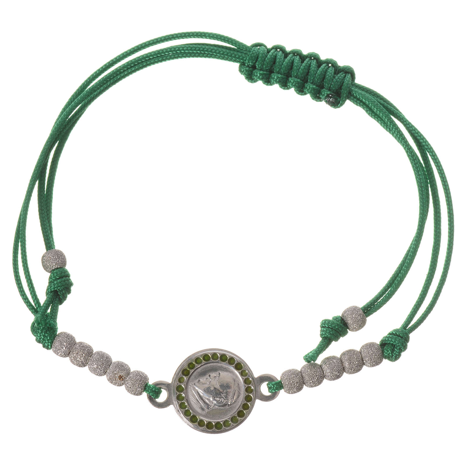 Bracelet with green cord and Pope Francis medal in 800 silver 4