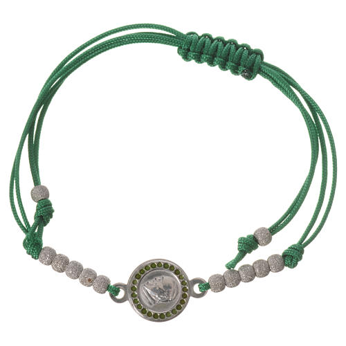 Bracelet with green cord and Pope Francis medal in 800 silver 1