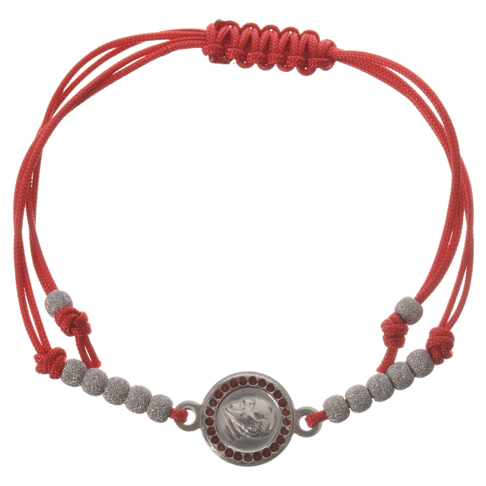 Bracelet with red cord and Pope Francis medal in 800 silver 4