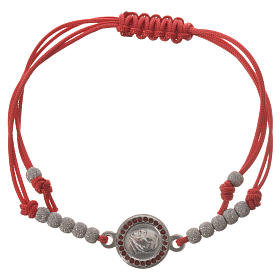 Bracelet with red cord and Pope Francis medal in 800 silver s1