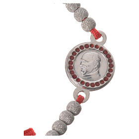 Bracelet with red cord and Pope Francis medal in 800 silver s2