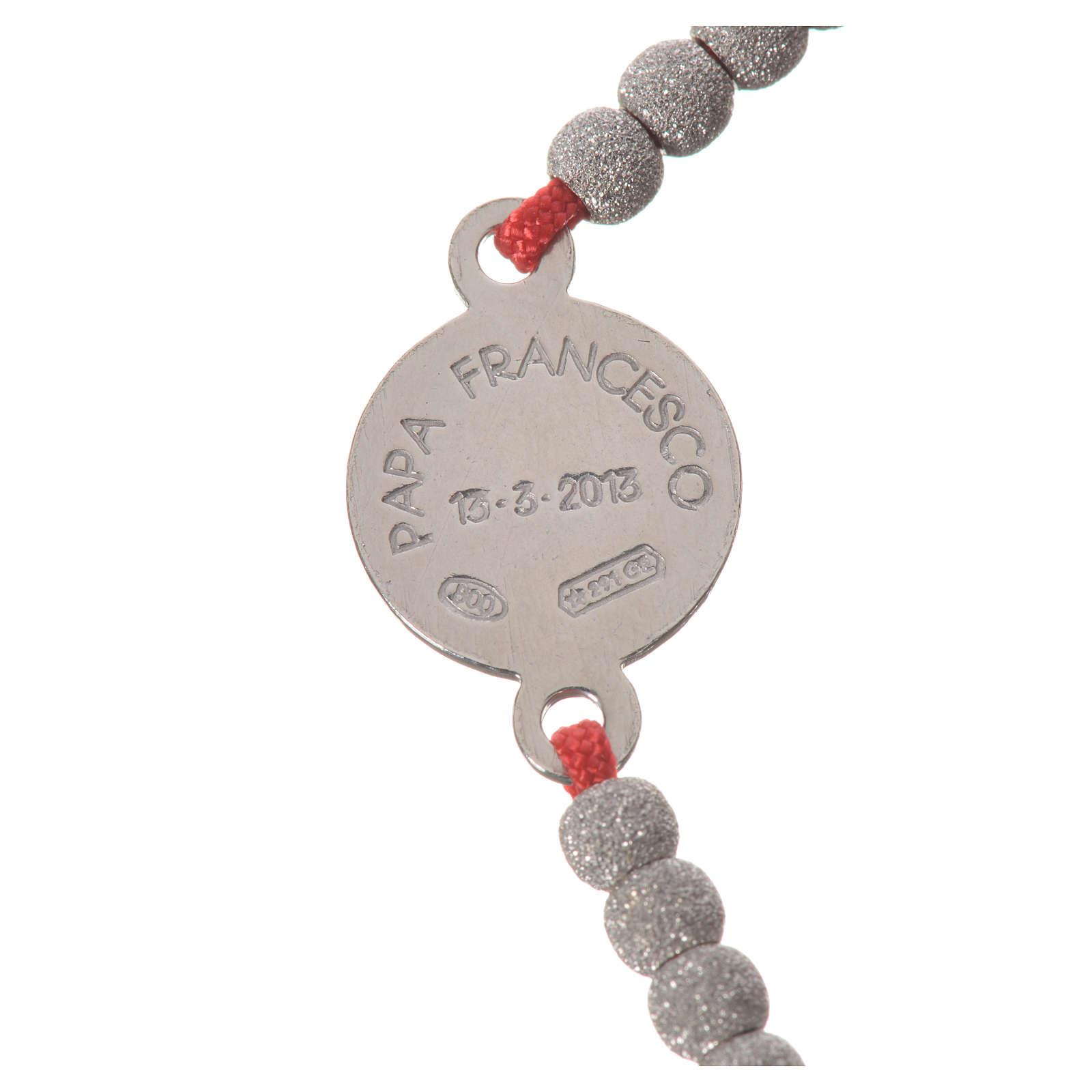Bracciale corda rossa medaglia arg 800 Papa Francesco 4