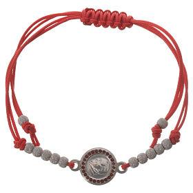 Bransoletka sznurek czerwony medalion srebro 800 Papież Franciszek s1