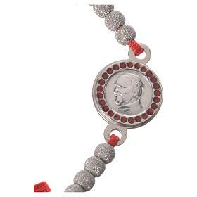 Bransoletka sznurek czerwony medalion srebro 800 Papież Franciszek s2