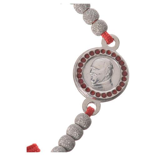 Bransoletka sznurek czerwony medalion srebro 800 Papież Franciszek 2