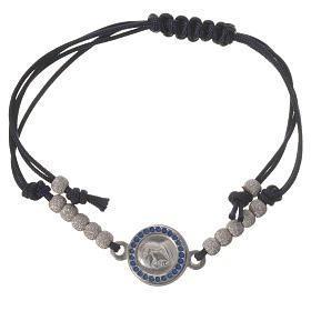 Armband mit schwarzem Seil und Medaille Silber 800 Papst Franziskus s1