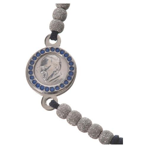 Bracelet corde noire médaille argent 800 Pape François 2