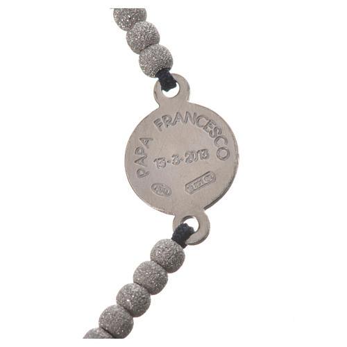 Bracelet corde noire médaille argent 800 Pape François 3