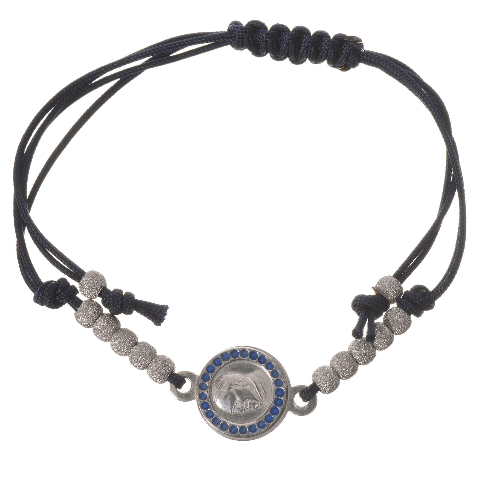 Bracciale corda nera medaglia arg 800 Papa Francesco 4