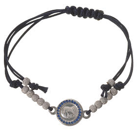 Silver bracelets: Bracelet with black cord and Pope Francis medal in 800 silver