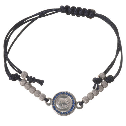 Bracelet with black cord and Pope Francis medal in 800 silver 1