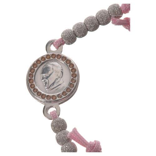 Bracciale corda rosa medaglia arg 800 Papa Francesco 2