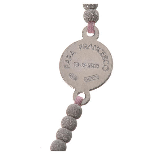 Bracciale corda rosa medaglia arg 800 Papa Francesco 3