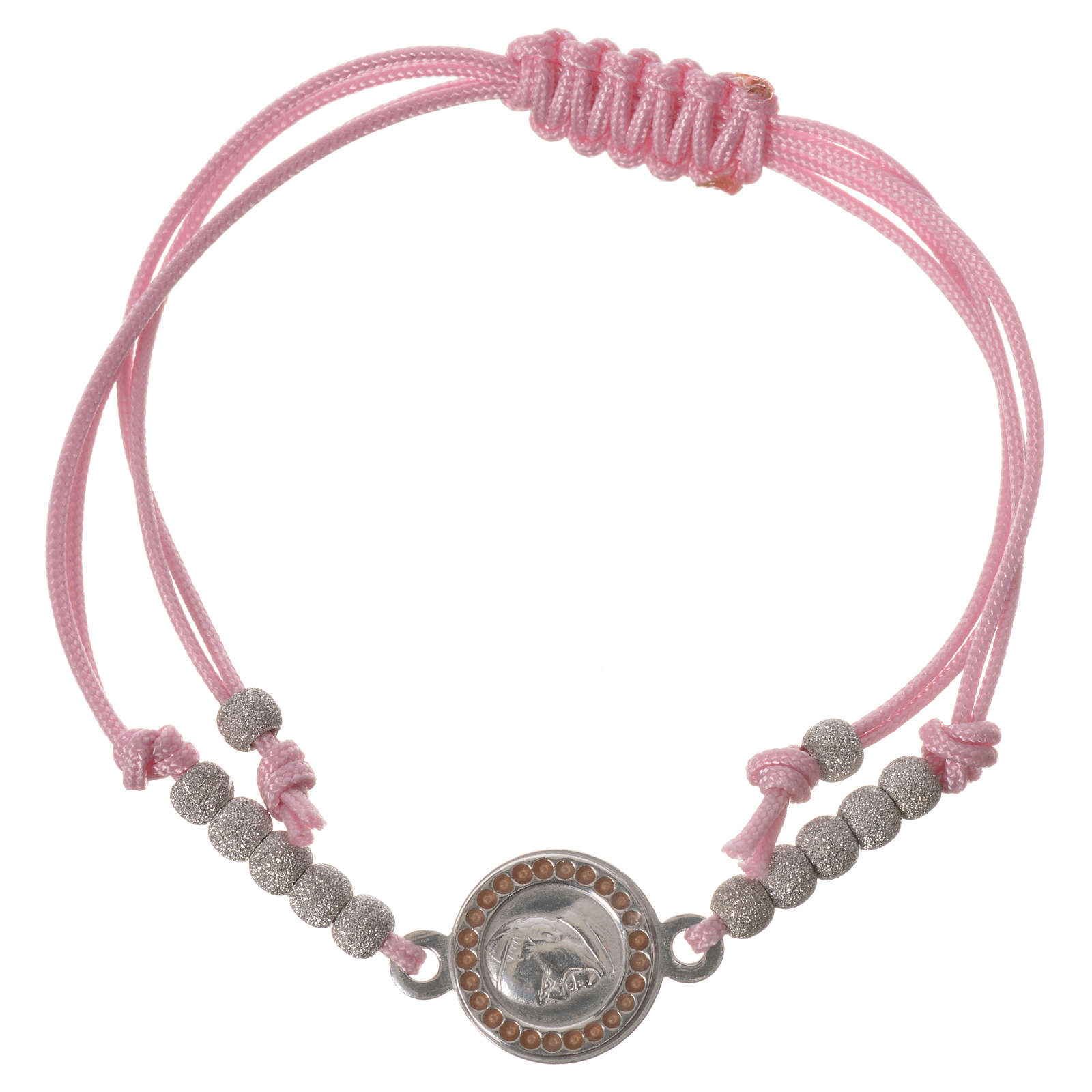Bracelet with pink cord and Pope Francis medal in 800 silver 4
