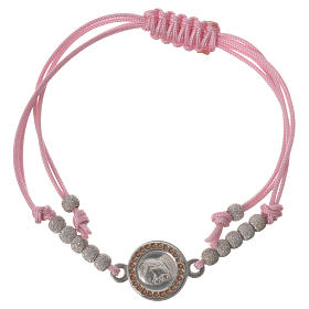 Bracelet with pink cord and Pope Francis medal in 800 silver s1