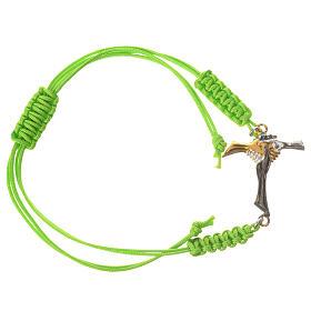 Bracelet in green cord with friendship cross in 925 silver s1