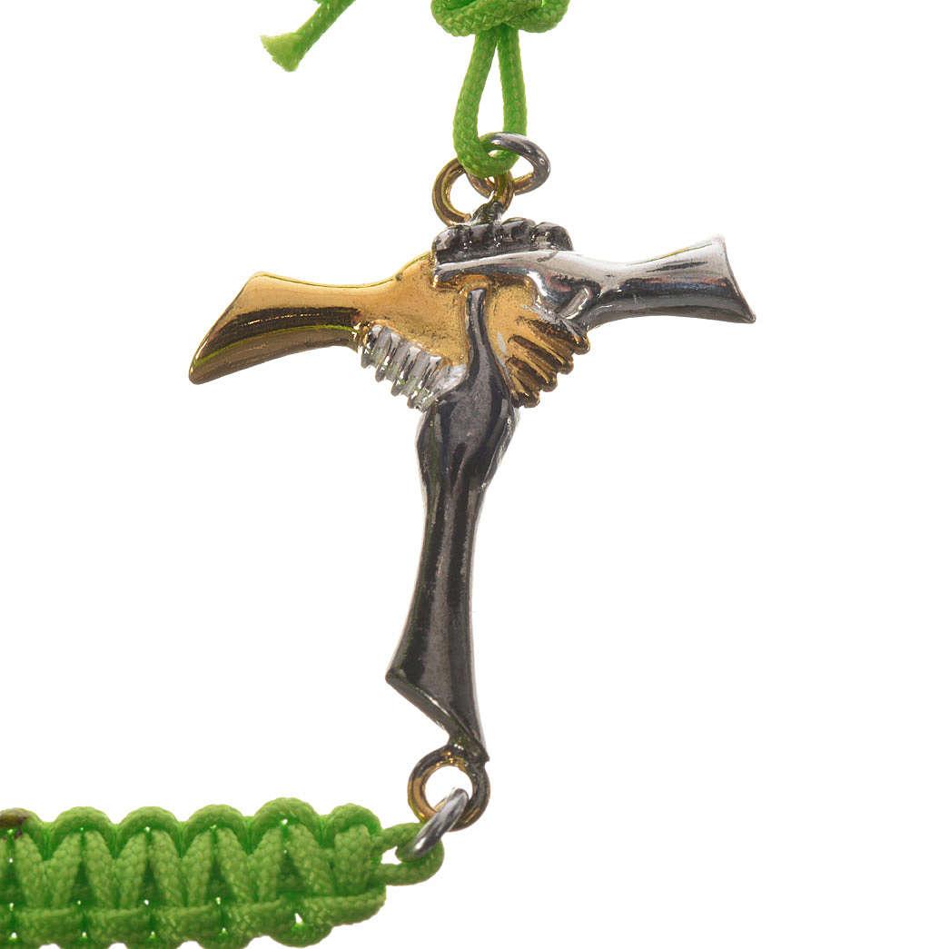 Pulsera cuerda verde Cruz de la Amistad plata 925 4