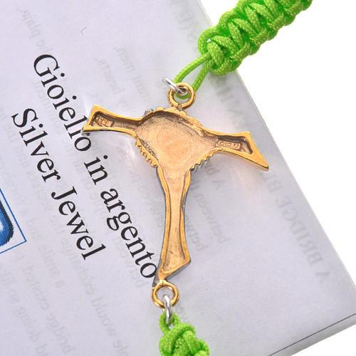 Bransoletka sznurek zielony Krzyż Przyjaźni srebro 925 3