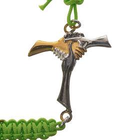 Bracelet in green cord with friendship cross in 925 silver s2