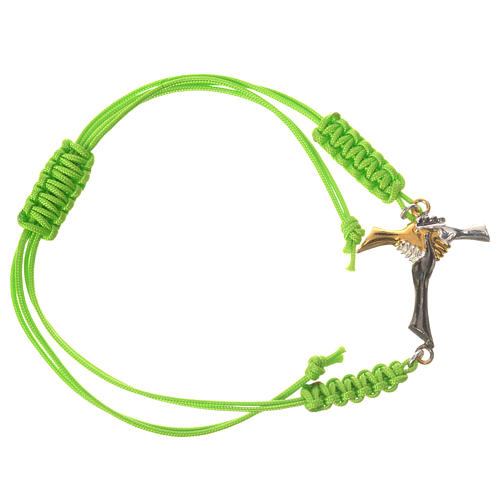 Bracelet in green cord with friendship cross in 925 silver 1