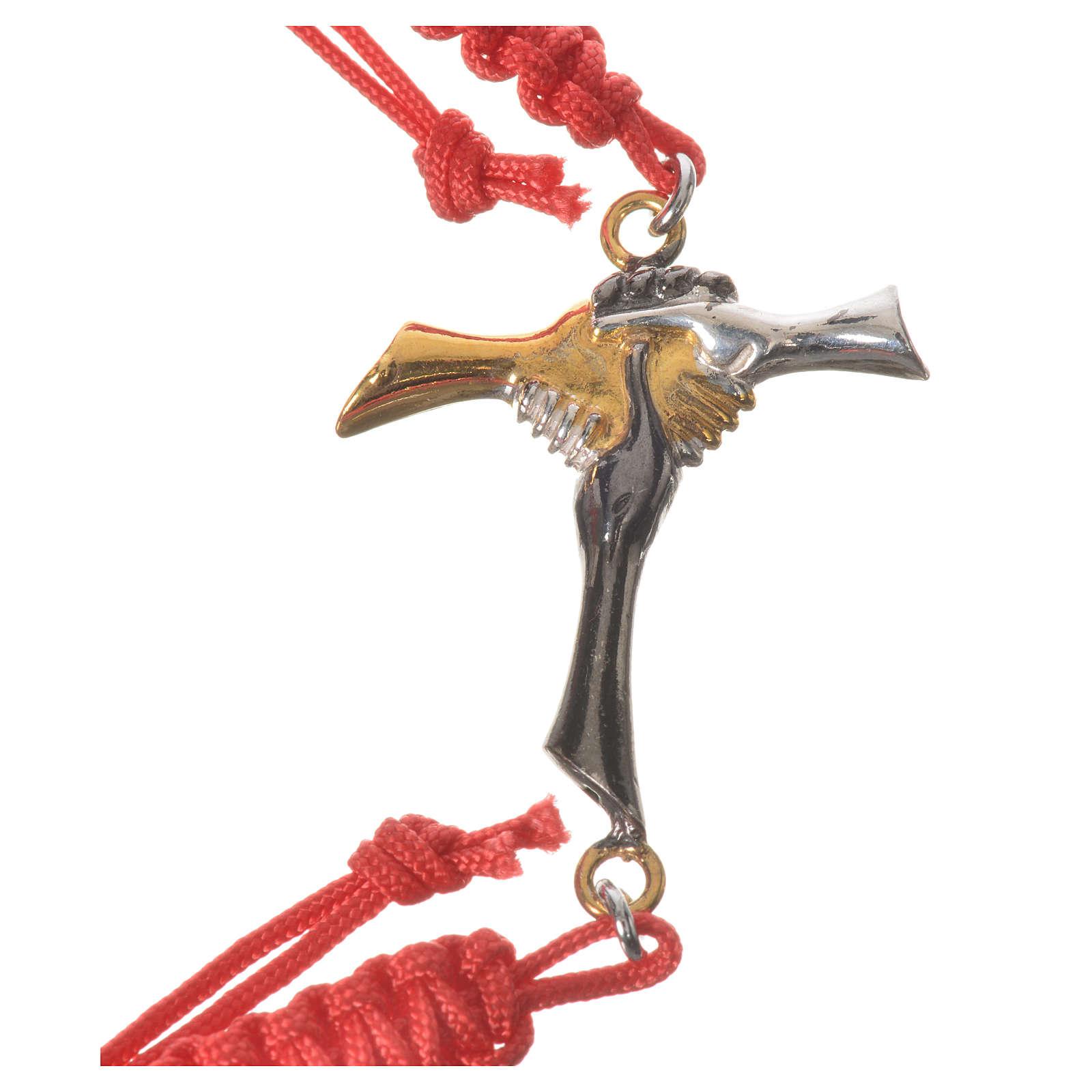 Bracciale corda rossa Croce dell'Amicizia argento 800 4