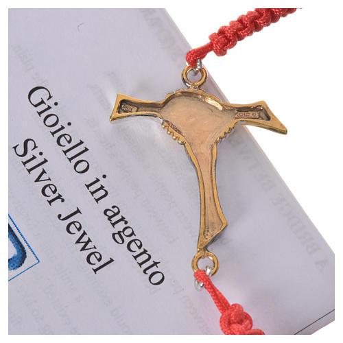 Bracciale corda rossa Croce dell'Amicizia argento 800 13