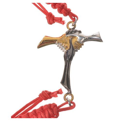 Bracciale corda rossa Croce dell'Amicizia argento 800 2