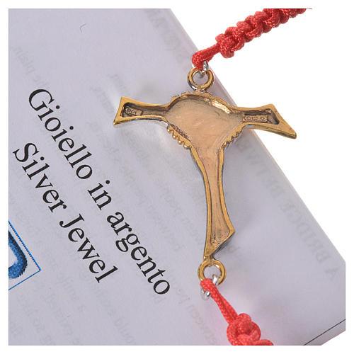 Bracciale corda rossa Croce dell'Amicizia argento 800 3