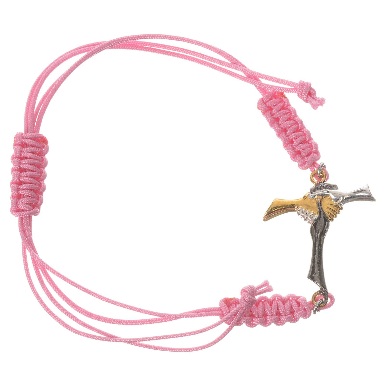 Bracciale corda rosa Croce dell'Amicizia argento 800 4