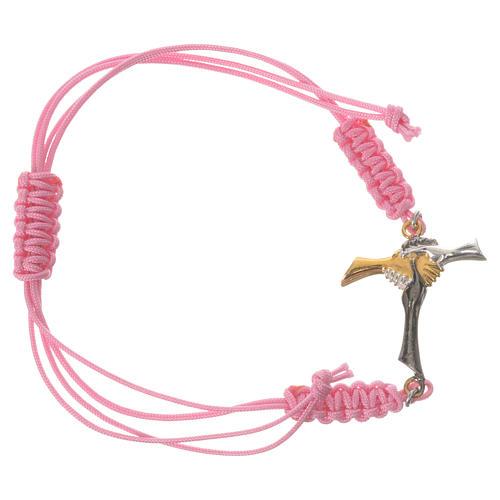 Bracciale corda rosa Croce dell'Amicizia argento 800 1