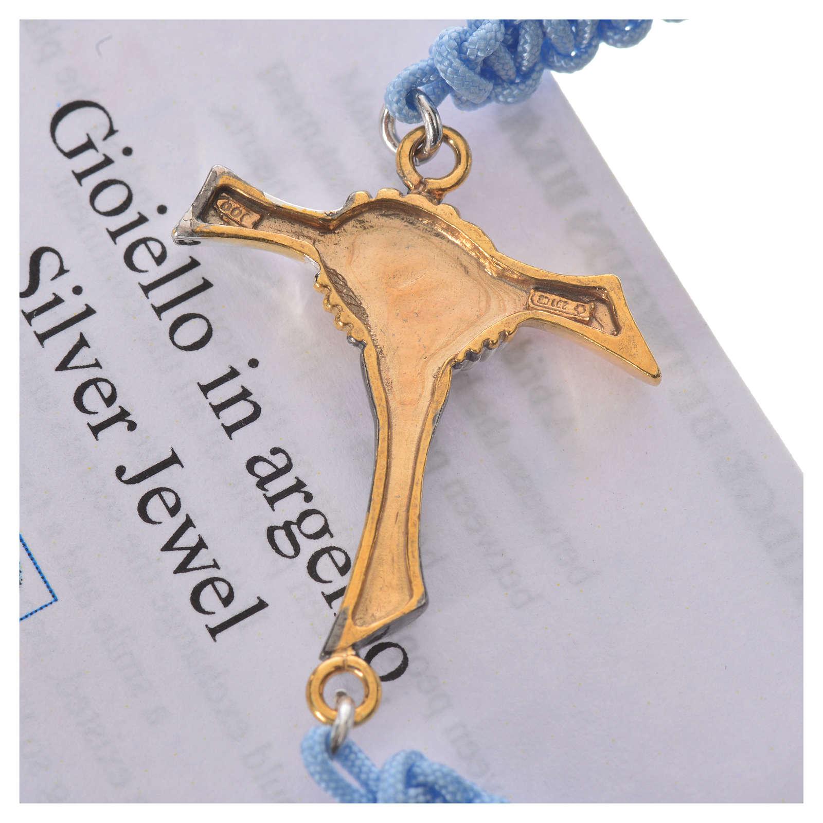 Bracciale corda azzurra Croce dell'Amicizia argento 800 4