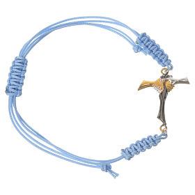 Bracciale corda azzurra Croce dell'Amicizia argento 800 s1
