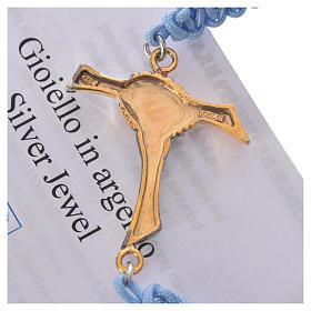 Bracciale corda azzurra Croce dell'Amicizia argento 800 s3