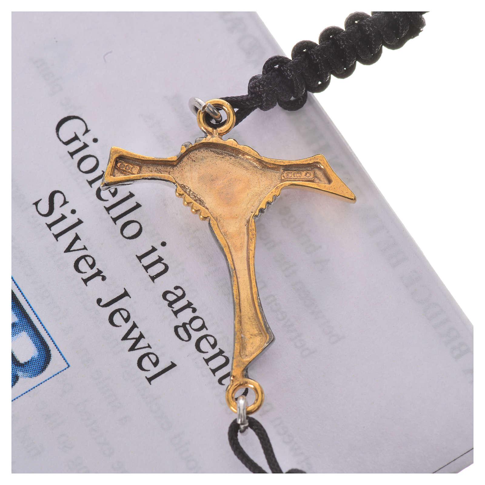 Bracciale corda nera Croce dell'Amicizia argento 800 4