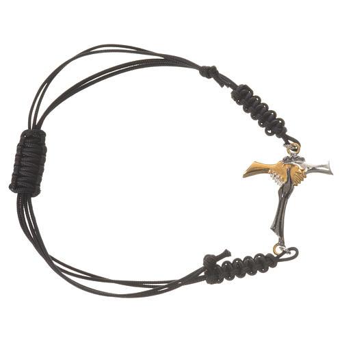 Bracciale corda nera Croce dell'Amicizia argento 800 1
