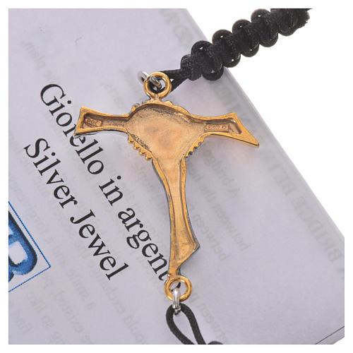 Bracciale corda nera Croce dell'Amicizia argento 800 3