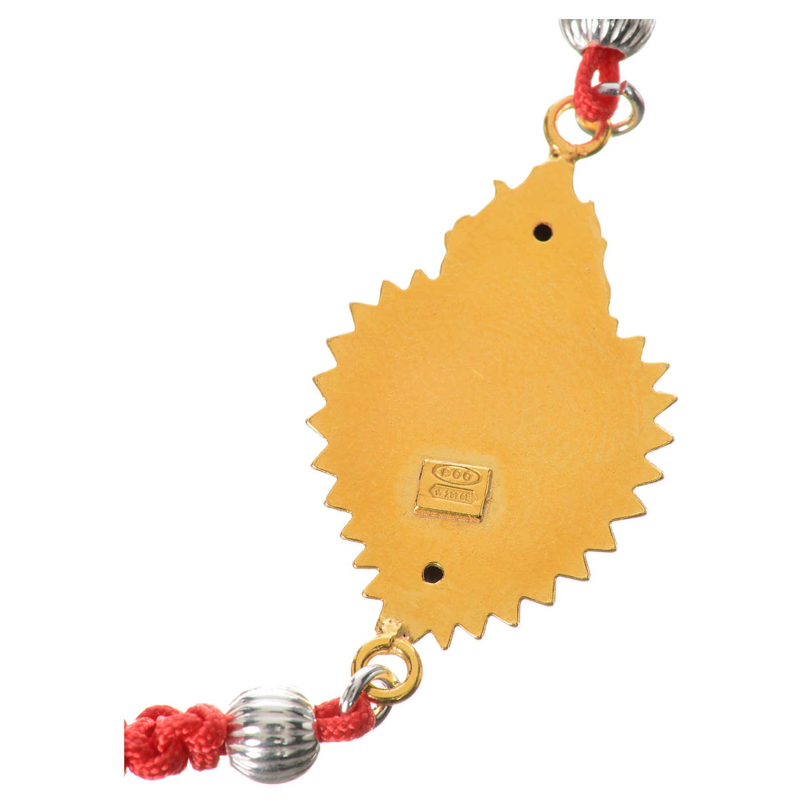 Bracelet corde rouge argent 800 exvoto doré 4