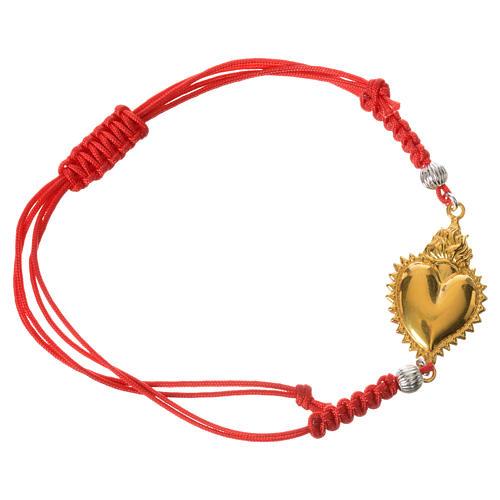 Bracelet corde rouge argent 800 exvoto doré 1
