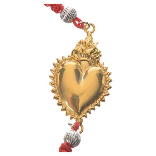 Bracelet corde rouge argent 800 exvoto doré 2