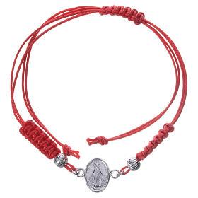 Pulseira Medalha Milagrosa prata 925 fio vermelho