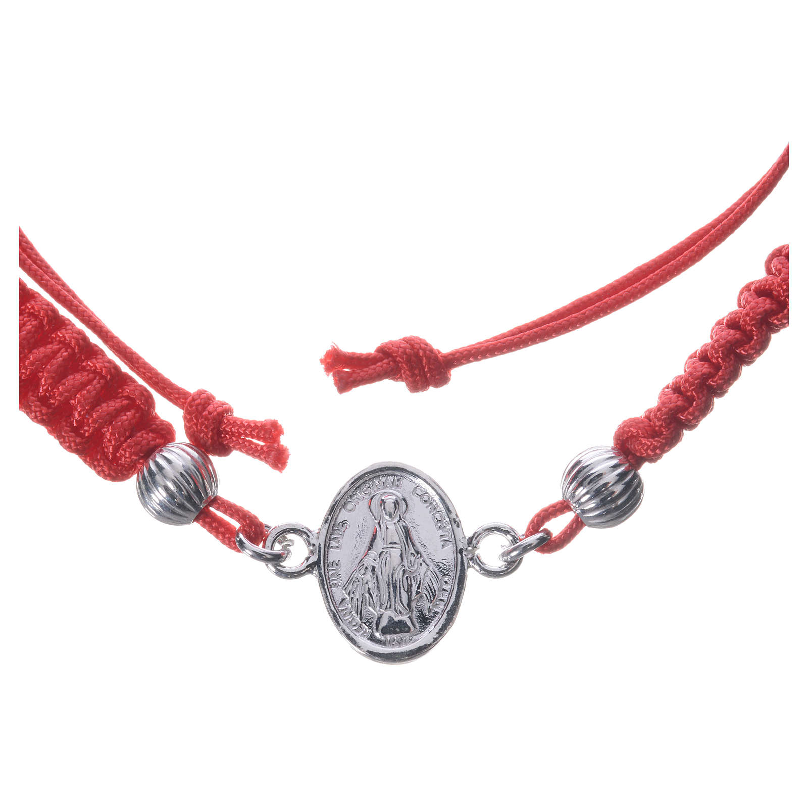 Bracelet with Miraculous Medal in 800 silver and red cord 4