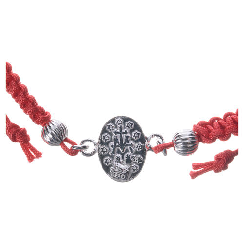 Bracelet with Miraculous Medal in 925 silver and red cord 3