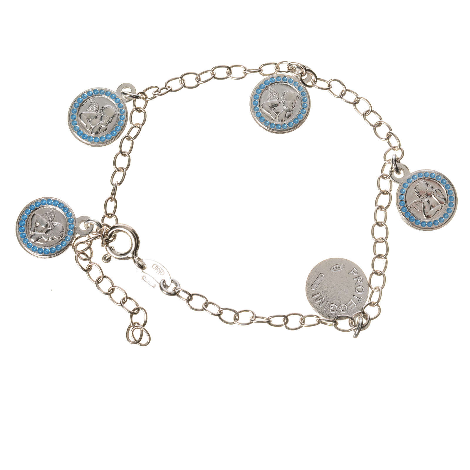 Bracciale argento 800 medaglie Angelo Custode azzurro 4
