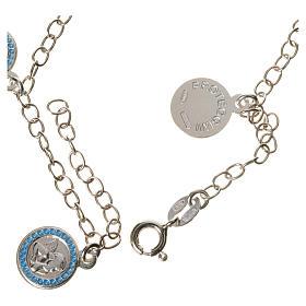 Bracciale argento 800 medaglie Angelo Custode azzurro s2